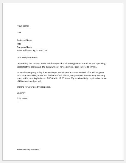 Request letters to reduce working hours word excel templates request letter to reduce working hours due to sports activity spiritdancerdesigns Gallery