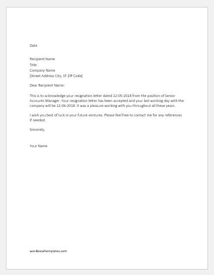 Sample Acceptance Of Resignation Letter From Employer from www.wordexceltemplates.com