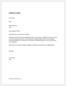 Warning Letter for Informal Talk at Work