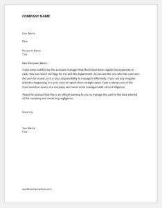 Warning letter for cash mishandling