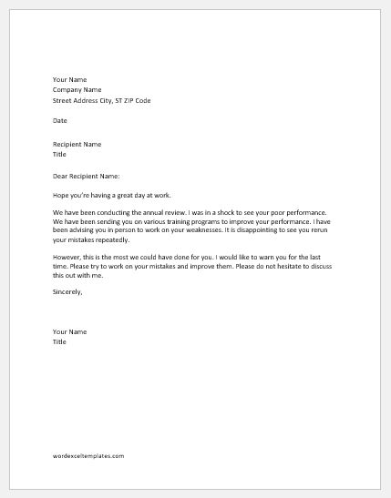 warning letter to employee for repeated mistakes