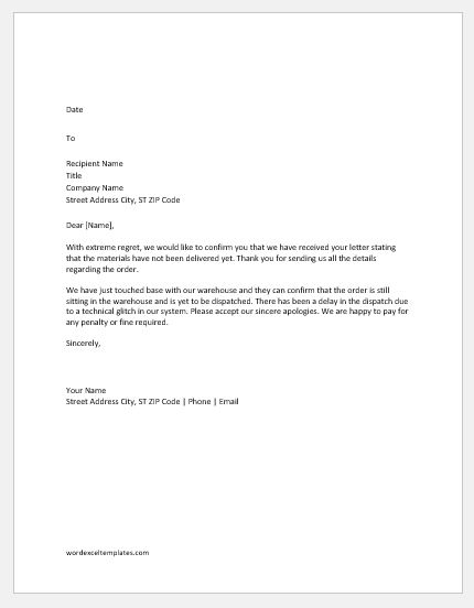 Apology Letter for Delay in Delivery of Materials