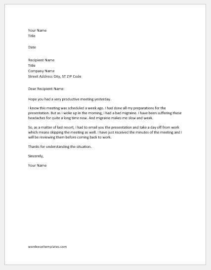 apology letter for not attending meeting due to illness