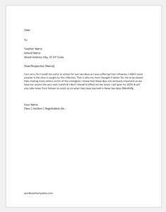 Apology letter to teacher for absence