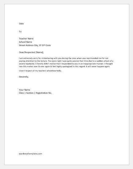 Apology Letter To Teacher For Various Reasons Word Excel Templates