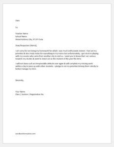 Apology letter to teacher for not doing homework