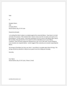 Complaint Letter to Principal about Library