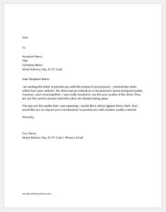 Complaint Letter to Supplier for Poor Quality of Product