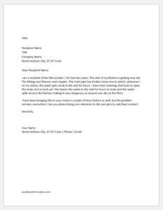 Complaint letter to building management
