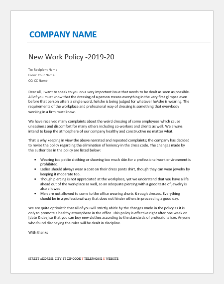 Directive letter to employees for change in dress code policy
