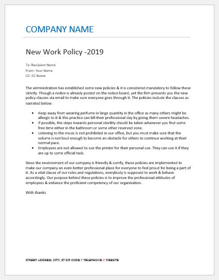 Email to employees about new company policy word excel for Company email policy template