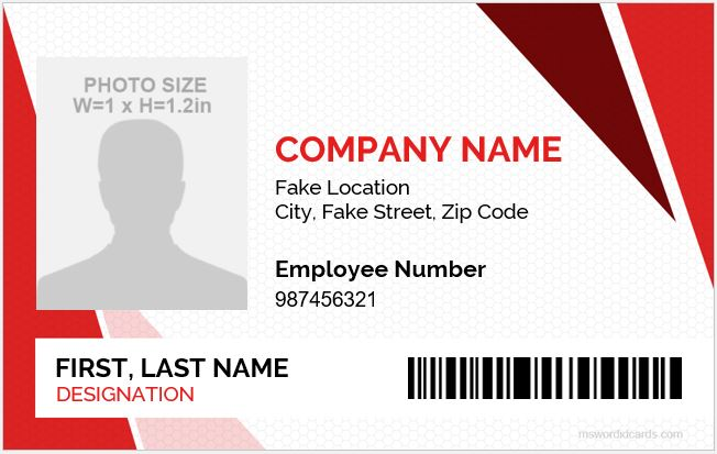 Photo id badge sample template