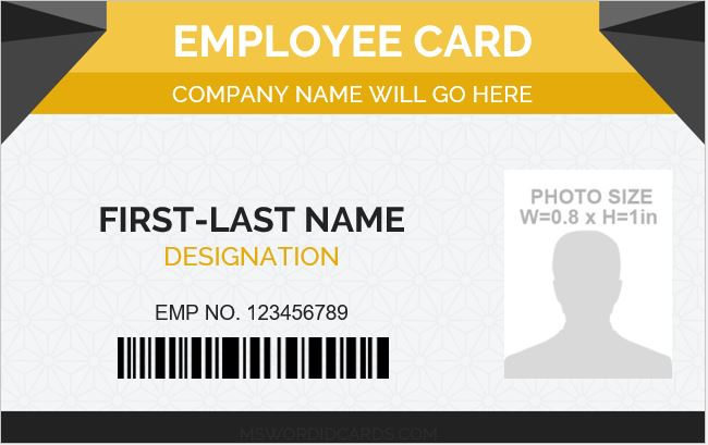 Photo id badge sample template