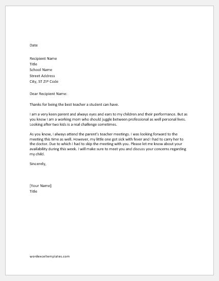 Excuse Letter for not Attending PTM in School