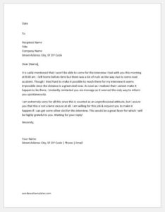 Excuse letter for not attending interview