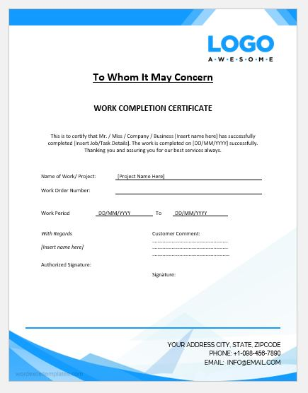 project completion certificate templates