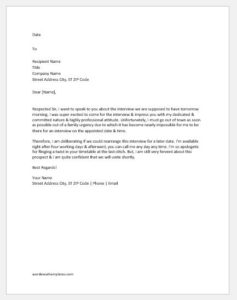 Request Letter for Change in Time of an Interview