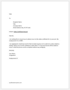 Request Letter for Salary Certificate for Bank Loan