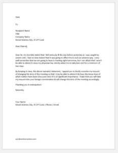 Request letter for change in time of a meeting