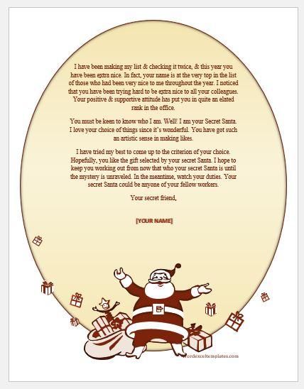 Secret Santa email template