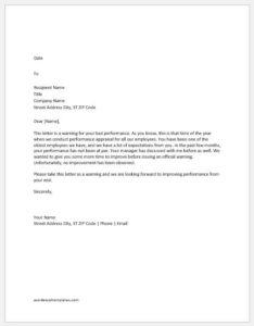 Warning Letter for Performance Improvement