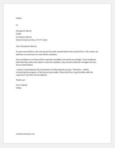 Directive letter to submit report