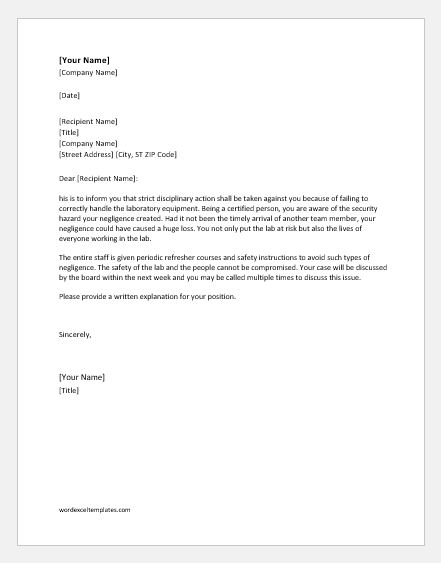 Disciplinary action letter for negligence