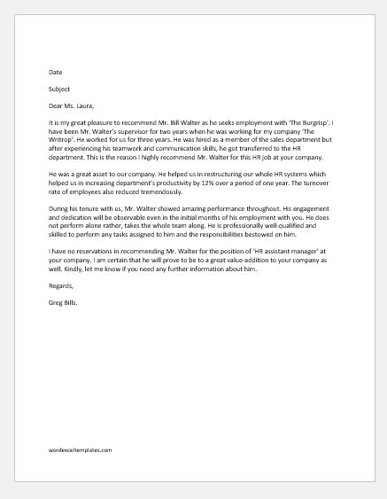 Employee Recommendation Letter Samples | Word & Excel Templates