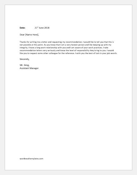 Employee Recommendation Refusal Letters Word Excel Templates