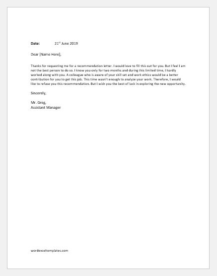 Employee Recommendation Refusal Letter
