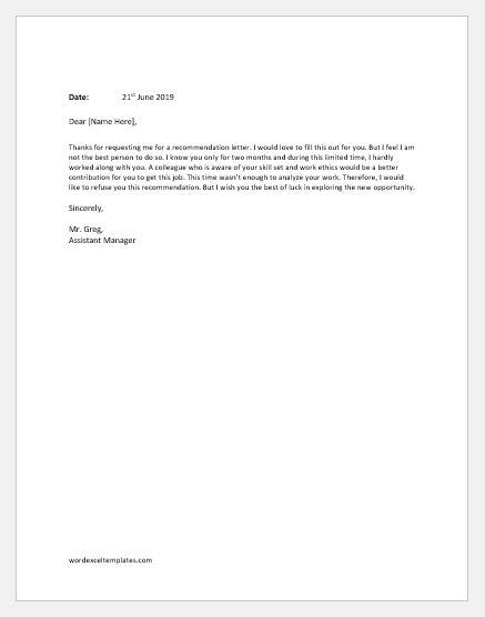 Employee Recommendation Refusal Letter