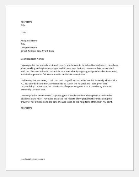 Explanation Letter for Late Submission of Reports