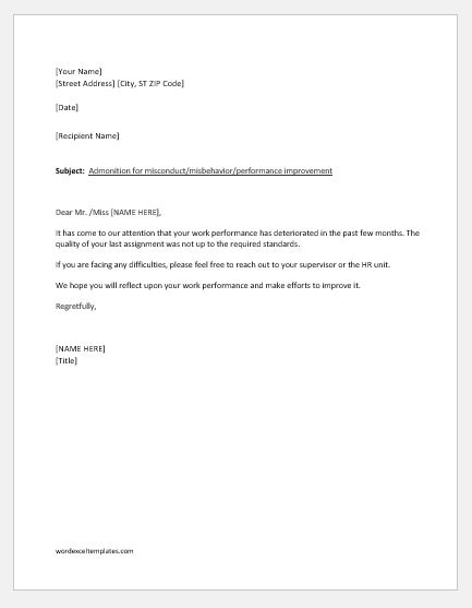 Letter of Reprimand for Employee Performance