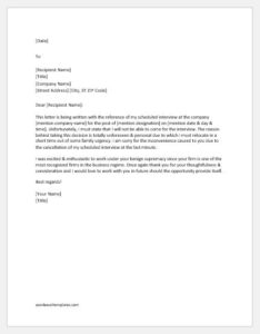 Letter to Cancel an Already Scheduled Interview