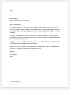 Letter to Remove Patient from Practice