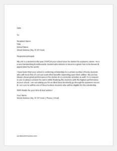 Letter to School Requesting for a Scholarship