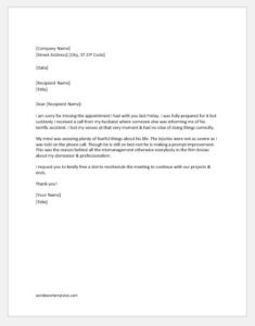 Missed appointment follow up letter