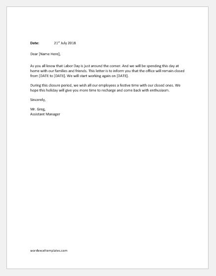 Office-Closed-Announcement-for-Labor-Day Office Closed Letter Template on for picinic, for presidents day sign, for carnival signs, holiday newsletter, for new year, recording message, for christmas free, sign for martin luther king day, memorial day email, for thanksgiving sign,