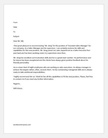 Recommendation Letter for Promotion