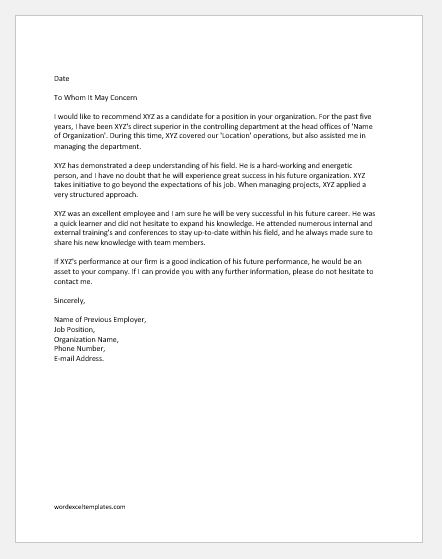 Reference Letter from Previous Employer