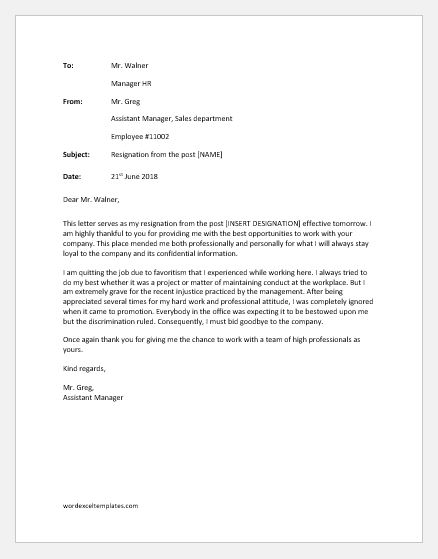 Resignation Letter Due to Unhappy with Management