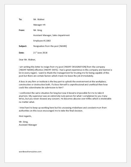 Resignation Letter Due to Unprofessional Boss | Word & Excel Templates