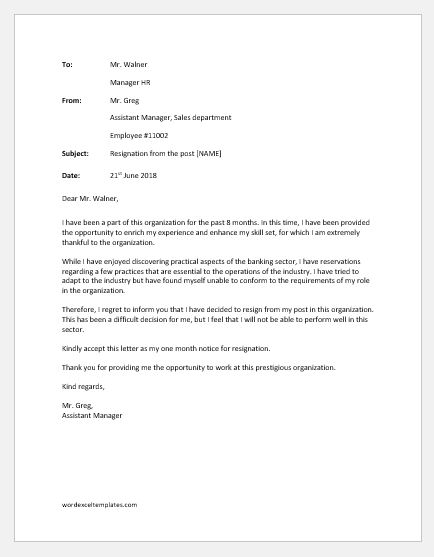 Resignation Letter because of Personality Clash or Conflict of Values