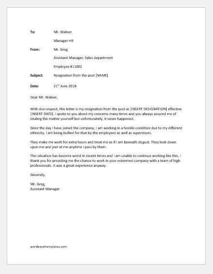 Resignation Letter due to Bullying