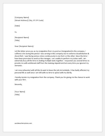Resignation Letter due to Job Dissatisfaction