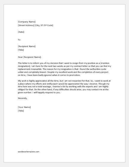 Resignation Letter due to Unfair Treatment