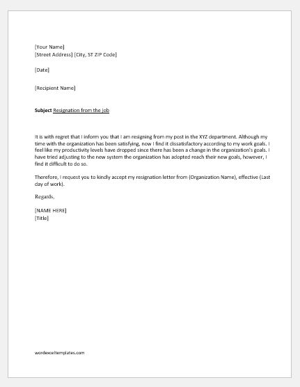 resignation letter due to unsatisfactory work