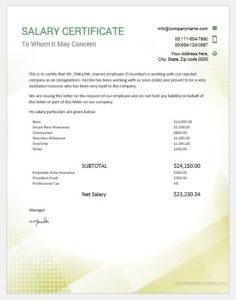 Salary certificate sample