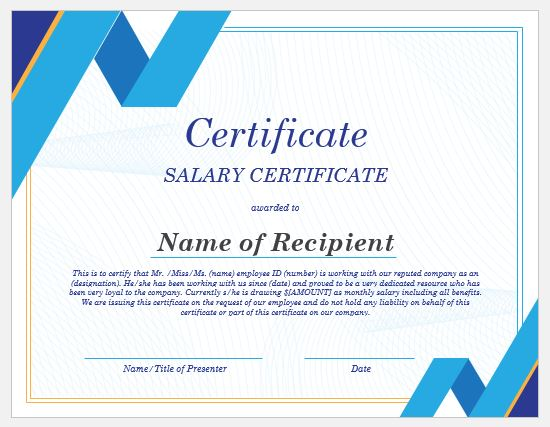 20+ Salary Certificate Templates for MS Word | Word & Excel Templates