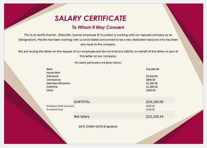 20 Salary Certificate Templates For Ms Word Word